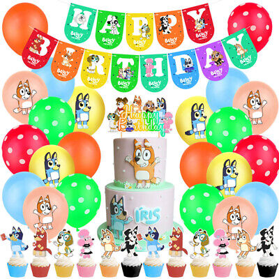 38x Bingo Bluey Themed Geburtstagsfeier Dekor Ballon Banner Cake Topper Flagge