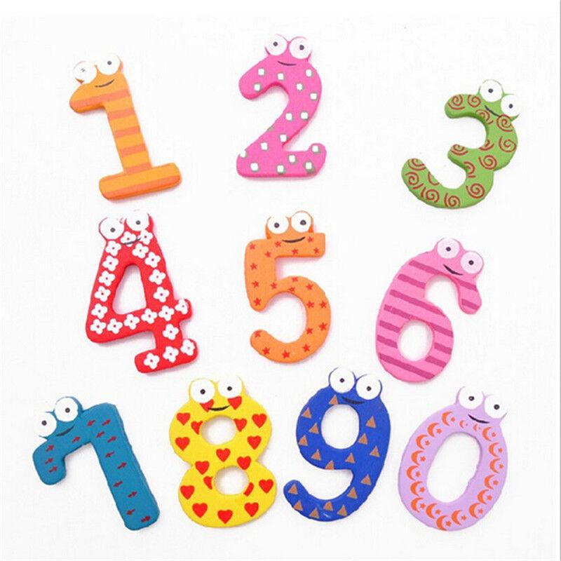 Toys For Learning Numbers : Set number kids wooden alphabet fridge magnet child