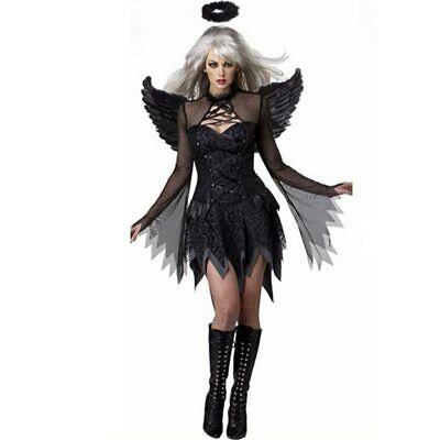 Halloween Black Devil Cosplay Sexy Costume Women Vampire White Angel Dress (Black Devil Halloween Kostüm)