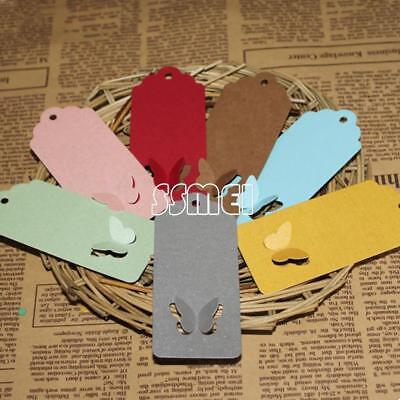 100pcsbag 40x90mm Paper Label Tag Clothes Shoes Jewelry Price Tags Butterfly