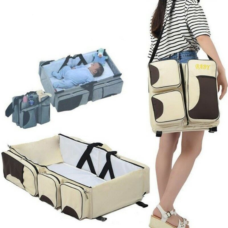 Portable Baby Travel Bed Crib Cot Folding Carry Nursery Infant Mummy Diaper Bag