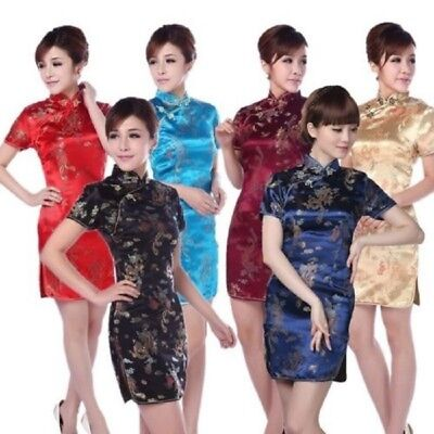 Costume Chinese (Short Chinese Qipao Cheongsam Mini Vintage Party Fancy Dress Theatre Costume)