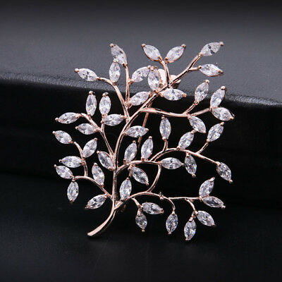 (Sparkly Clear White Zircon Rose Gold Plated Leaf Tree Brooch Pin Women Jewelry)