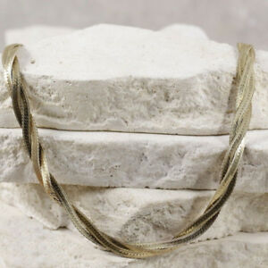 """Sterling Silver ITALY 5mm Gold Plate Woven Herringbone Chain 20"""""""