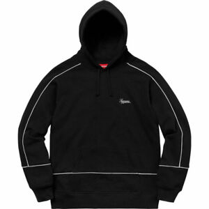 Supreme Piping Hoodie M Black SS18 + RECEIPT + SHIPPING LABEL