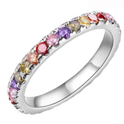 - Fashion Set Dreamy Rainbow Cubic Zirconia Platinum Plated Wedding Ring Size 6-9