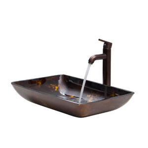 Rectangular Brown and Gold Fusion Glass Vessel Sink and tap