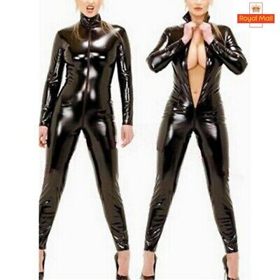 Womens PVC Leather Wet Look Catsuit Zip Crotch - Wet Look Catsuit