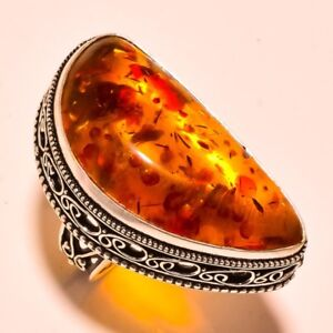 NEW  Huge Baltic Amber Ring 925 Sterling Silver  Size 7.5
