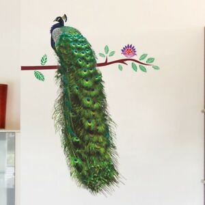 3D Animals Peacock On Branch Feathers Wall Stickers Vivid Wall Decals Home Decor