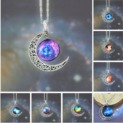 Crescent Moon Celestial Pendant Necklace in Gift Pouch **USA SELLER**FAST SHIP**