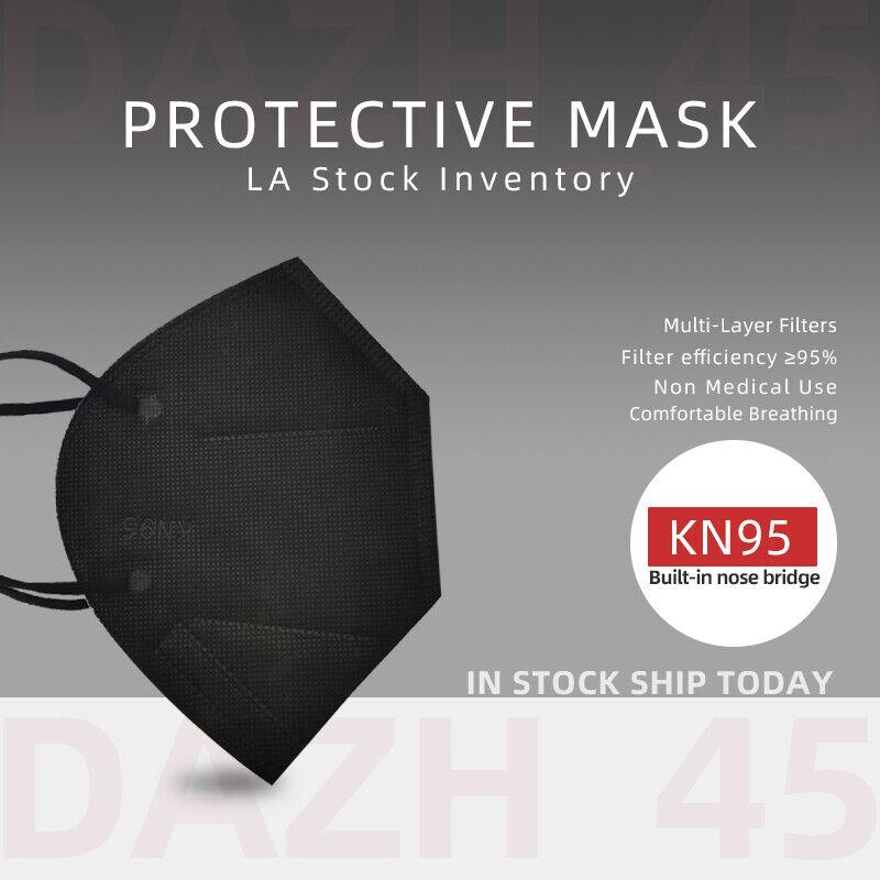 50/100Pcs Black KN95 Face Mask 5 Layer BFE 95% Disposable Respirator