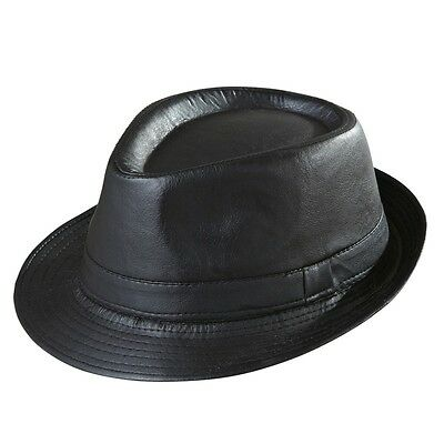 Hut Fedora Bogart Mafia Capone Freizeit Hat Zierband Schwarz Lederoptik Unisex ()