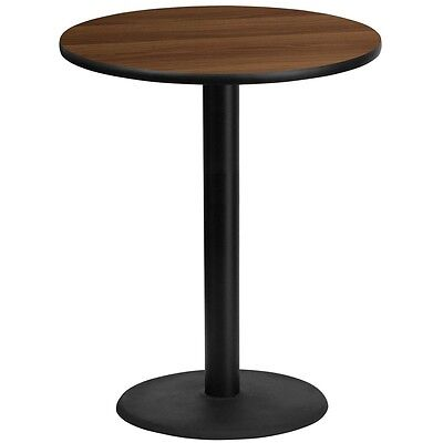 36 Round Walnut Laminate Table Top W24 Round Bar Height Table Base -black New