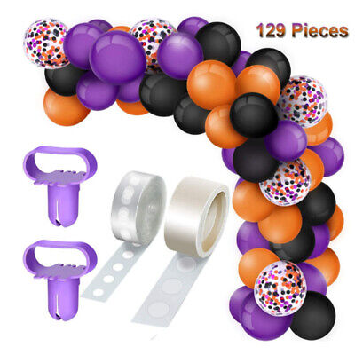 129PCS Halloween Balloon Arch Kit Garland Confetti Latex Balloons Party Supplies