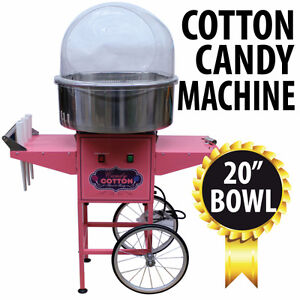 COMMERCIAL GRADE COTTON CANDY MACHINE WITH CART AND SHIELD