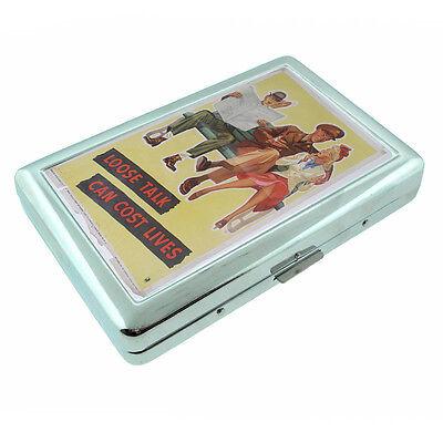 Loose Cigarette - Vintage Poster D217 Silver Metal Cigarette Case Wallet Loose Talk Can Cost Lives