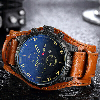 Curren Mens Watches Army Military Quartz Luxury Leather Strap Sport Wrist Watch