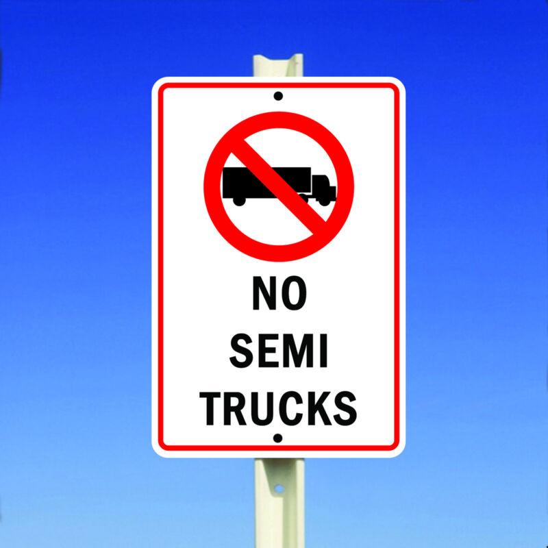 No Semi Trucks With Symbol Aluminum Metal 8x12 Sign