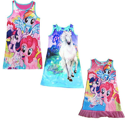 Mlp Pajamas (Girls Kids My Little Pony MLP Rainbow Sleepwear Nightgown 4-16Y Dress)