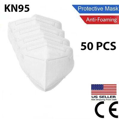 50 Pcs White KN95 Protective Face Mask BFE 95% Disposable Respirator