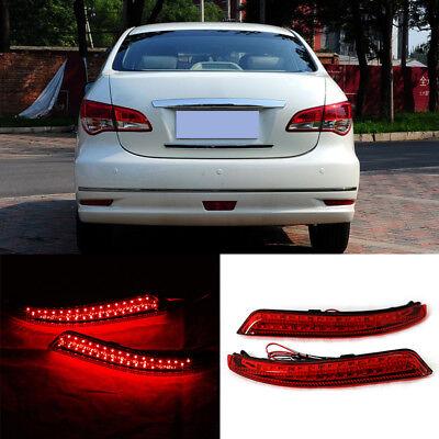 2PC LED Rear Bumper Light Reflector Brake Lamps For Nissan Sylphy Wingroad Almer