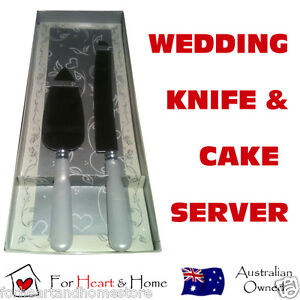 KNIFE AND CAKE SERVER SET Wedding Birthday Engagement Party Bridal White