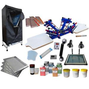 4 Color 2 Station Screen Printing Kit with Exposure/ Drying Cabinet 006944