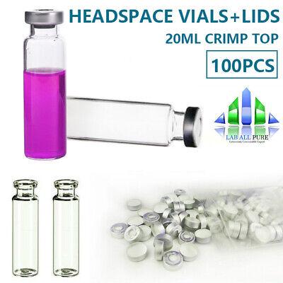100 20ml Headspace Vialsaluminium Caps Storage Vial Crimp Top Glass Bottle Gc