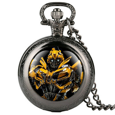 Transformers Theme Quartz Pocket Watch with Necklace Chain Best Gift for