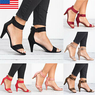 Women Dance Shoe Ankle Strap Flat Casual Sandals Shoes Chunky Low/Mid Heel Dress
