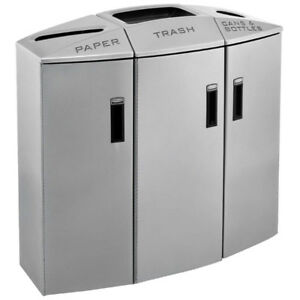 Rubbermaid Element Recycling Container, Silver, 3 stream