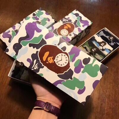 Hot A BATHING APE Men's AAPE SOCKS Bape Socks Stacking One Set 5 Pairs With Box