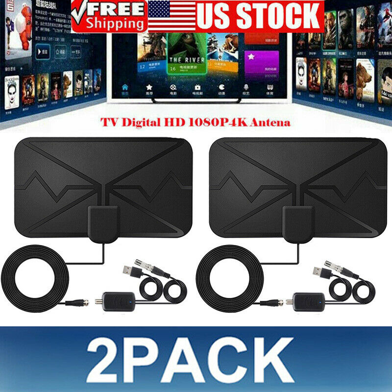 2 Pack TV Antenna 4K 1080p HDTV Indoor Digital Amplified Up 3600Miles/AC Adapter