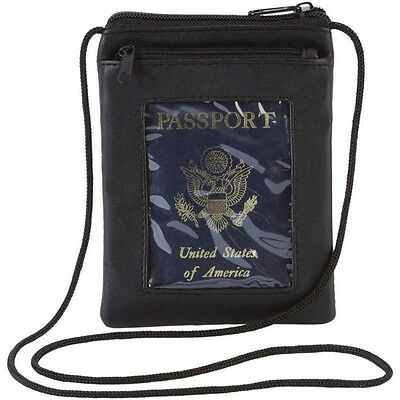 Leather Transparent Window Passport Cover w/ Neck Strap, Mens Travel Card Wallet