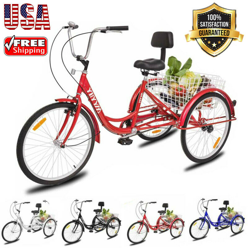 "26"" 3-Wheel Tricycle Cruise Bicycle Trike Bike Adult With Ba"