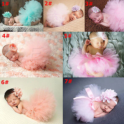 Cute Toddler Newborn Baby Girl Tutu Skirt & Headband Photo Prop Costume Outfit