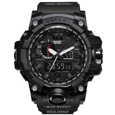 - SMAEL Mens Sport Military Watch LED Dual Display Digital Electronic Wristwatch