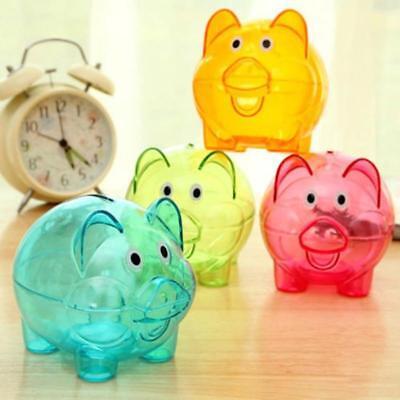 Clear Plastic Piggy Bank (Clear PIGGY Bank Coin Money Plastic Cash Openable Saving Box Kid Pig JJ)