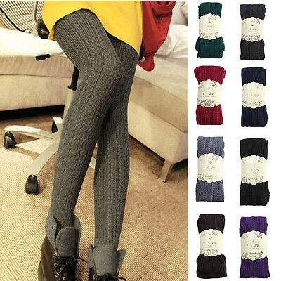 Cable Womens Tights - Girls Womens Cable Knit Sweater Footed Tights Stretch Solid Stockings Pantyhose