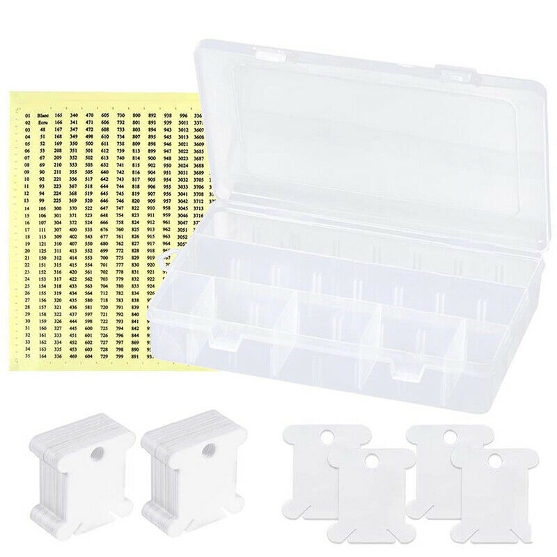 100Pcs Floss Thread Bobbins Storage Box Organizer Sewing Work Cardboard Plastic