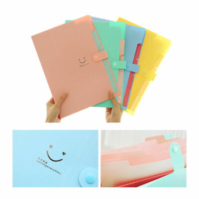 5 Pockets A4 Expanding File Folders Snap Closure Paper Document Organizer Office