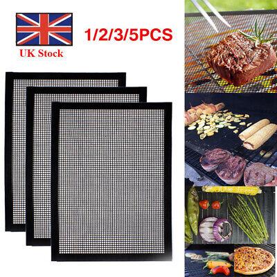 Non-Stick BBQ Mesh Grill Pad Reusable Heat-resistant Bag Barbecue Baking Mat UK