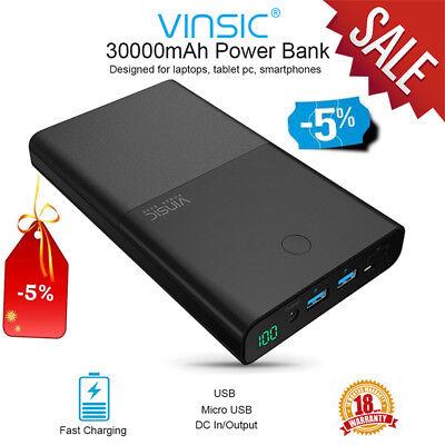 Vinsic 30000mAh Power Bank DC/USB External Battery Charger for Cellphone Tablets