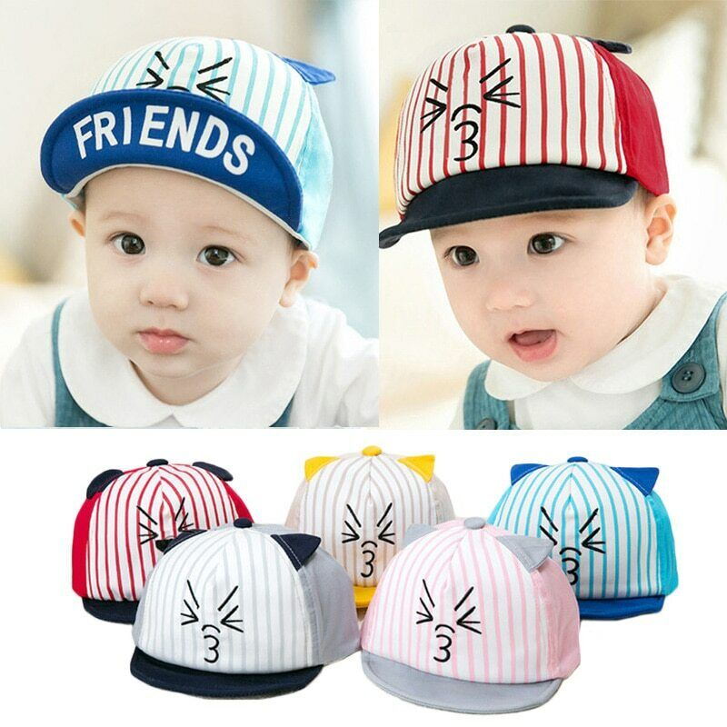 Newborn Baby Boy Girl Striped Soft Eaves Baseball Infant Baby Cap LE