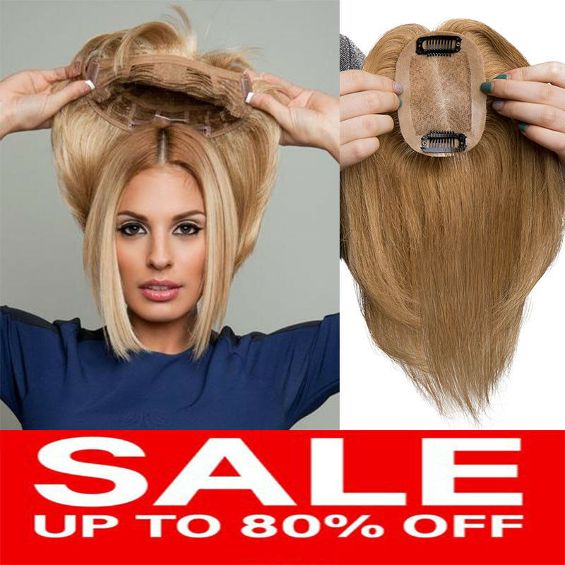 THICK 100% Human Remy Hair Mono Straight Hairpiece Clip in W