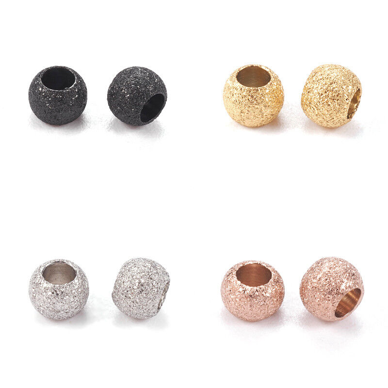 100pcs Metal Metal Beads Round Bumpy Loose Spacers 4-8mm Hole Jewellery