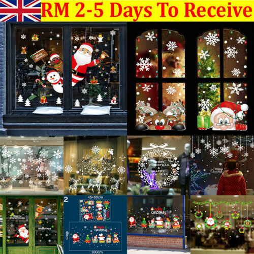 Home Decoration - Merry Christmas Gift Wreath Wall Window Stickers Decals XMAS Home Shop Decor DIY