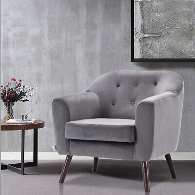 Upholstered Grey Plush Velvet Armchair Lounge Tub Chair Vintage Accent Sofa Seat