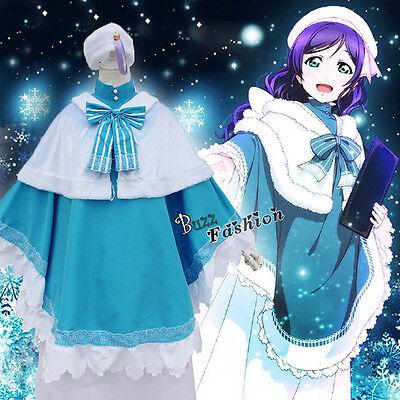 Love Live Tojo Nozomi Cosplay Anime Kleid Mädchen Kostüm Mit Flügeln Hut Blau DE